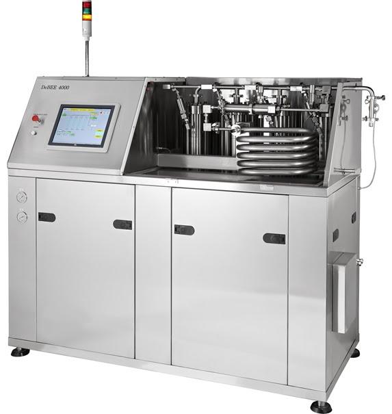 Homogeneizadorde alta pressão DeBEE 2000, até 45.000 psi / 3.100 bar, para redução de tamanho de partículas até a faixa nanométrica, disrupção de células, nano / micro emulsificação, dispersão, etc.