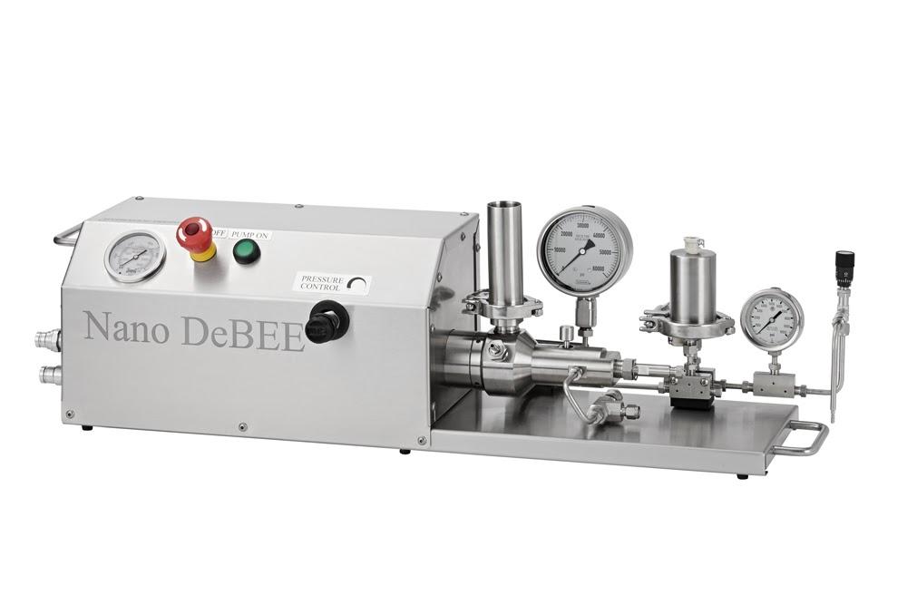 Homogeneizadorde alta pressão Nano DeBEE, até 45.000 psi / 3.100 bar, para redução de tamanho de partículas até a faixa nanométrica, disrupção de células, nano / micro emulsificação, dispersão, etc.